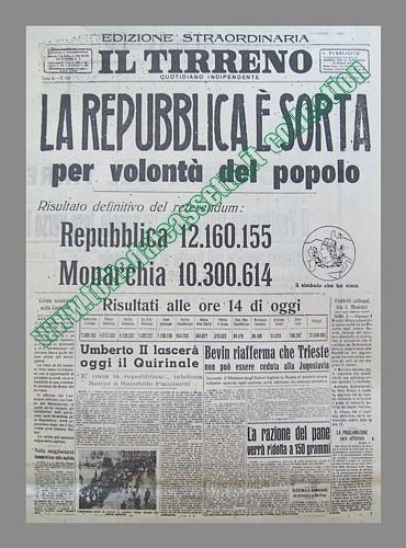 Il tirreno del 5 giugno 1946 risultati del referendum for Repubblica italiana nascita