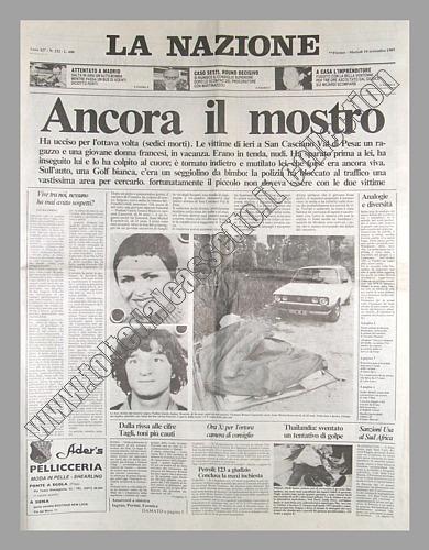 La nazione del 10 settembre 1985 il mostro di firenze for Nazione di firenze